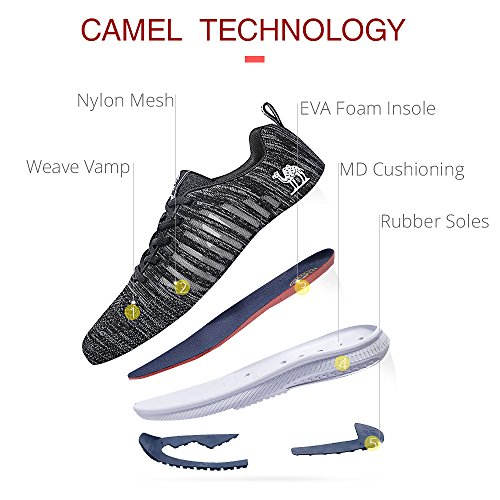 Breathable Shoes Womens Non Slip Mesh Lightweight Walking Fashion Camel Shoes Running Athletic Black Sports Sneakers dtxwPqP4