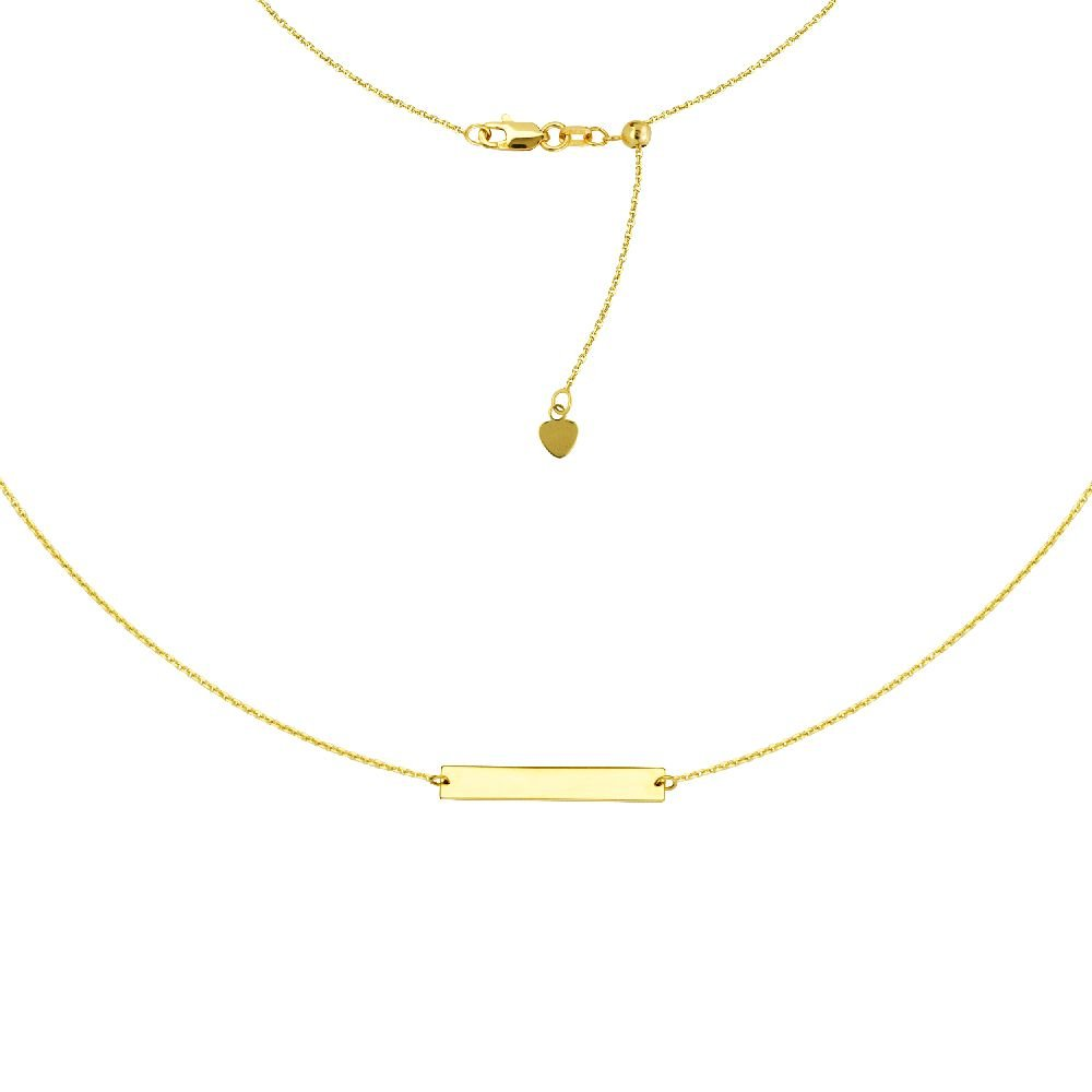 14kt Yellow Gold Engravable Bar Adjustable Choker Necklace