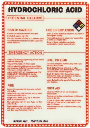 Hydrochloric Acid Sign (Brady 48871 Premium Fiberglass Hazardous Material Sign, 10