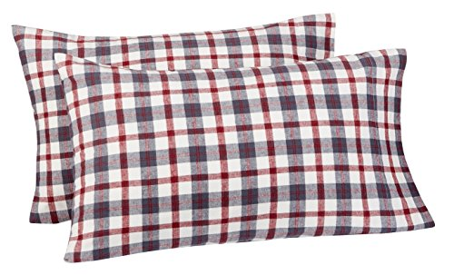 Big Save! Pinzon 160 Gram Plaid Flannel Pillowcases - Standard, Red/Grey Plaid