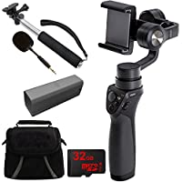 DJI Osmo Mobile Gimbal Stabilizer Bundle with Part7 Intelligent Battery, Part 44 FM-15 Flexi Microphone, Deluxe Gadget Bag, 43-Inch Selfie Stick and 32 GB Micro SD Card for Smartphones