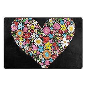 U LIFE Valentines Day Heart Love Summer Spring Wedding Floral Flowers Large Doormats Area Mats Runner Floor Mat Cover Carpet for Entrance Way Living Room Bedroom Kitchen Office 36 x 24 Inch