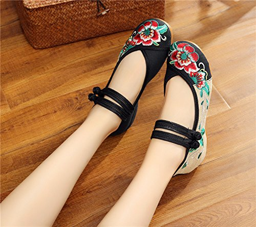 Brode Noir Chinoise Flattie Femmes Toile Chaussures Jane Hibiscus Flats Occasionnelle Mary Arobic q7Pt0