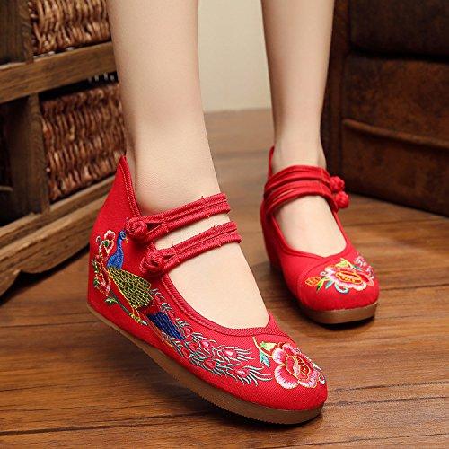 Del Comodo Suola Biancheria Etnico Tendine Stile Casual Scarpe Aumento Red Moda Femminili Ricamate Ming xqtwpUPIn