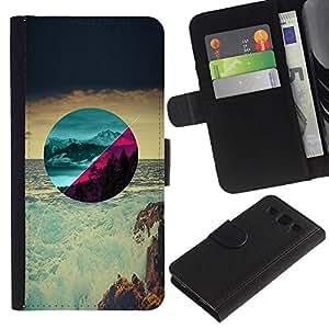 Hermosos paisajes - la tarjeta de Crédito Slots PU Funda de cuero Monedero caso cubierta de piel Para Samsung Galaxy S3 III i9300 i747