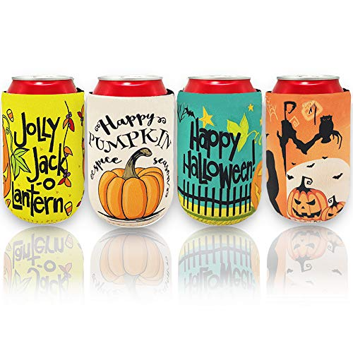 Halloween Beer Koozies (QYPRMX 4 Pieces/ 12 oz Halloween Can Sleeves, Beer Can Covers,Neoprene Insulated Bottles Drink Coolies for Halloween Party,)
