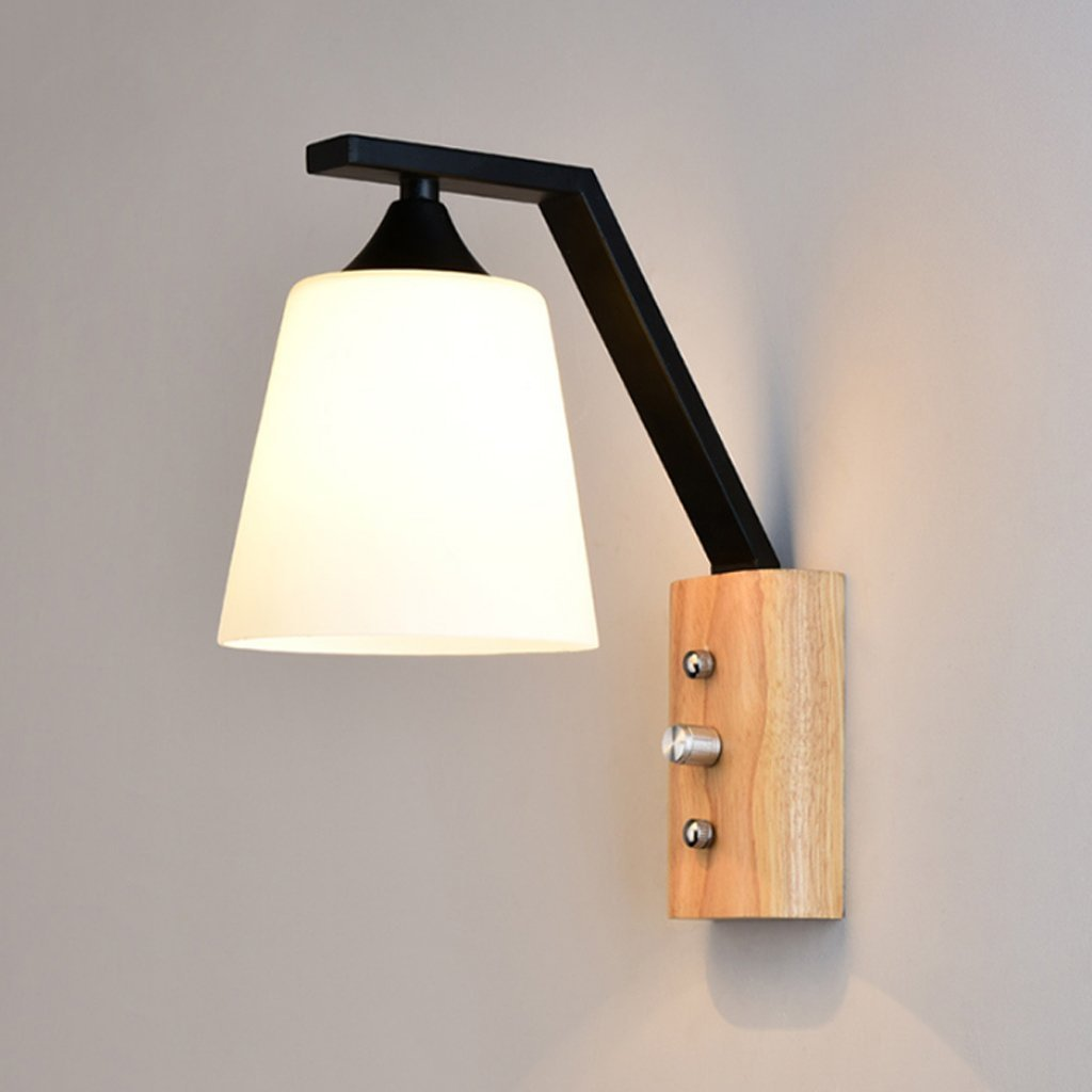 Edge To Wall lamp LED Metal Wood Wall Lamp Black And White Creative Bedroom Bedside Lamp E27 Balcony Aisle Solid Wood Glass Wall Lights ( Color : Black )