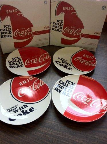 Coca Cola Dinner (Coca Cola Ceramic Plates - Set of 4 - Luncheon Salad Dinner - 8 Inch)