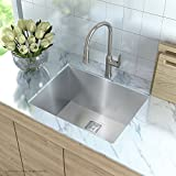 "Kraus KHU24L Pax Zero-Radius 24"" 18 Gauge Handmade Undermount Single Bowl Stainless Steel Laundry and Utility Sink"