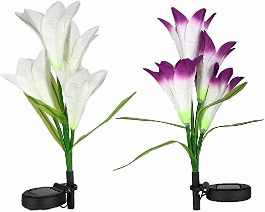 Hyperion Lights Solar Flower Stake Light- 2-Pack of White and Purple Lily Flowers, LED Waterproof Garden Decorations, Light Up Dusk to Dawn Outdoor Flower Metal Stake W Updated Wiring