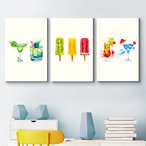 3 Panel Summer Drinks and Treats Triptych Series Summer Drinks and Popsicle Illustrations and Watercolor x 3 Panels