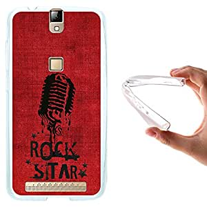 WoowCase - Funda Gel Flexible { Elephone P8000 } Microfono Estrella de Rock Carcasa Case Silicona TPU Suave