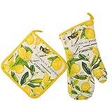 lemon oven mitt - Michel Design Works Padded Cotton Oven Mitt & Cotton Potholder, Lemon Basil Large Bundle (2 Pack)