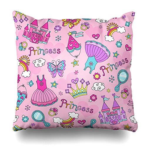 Ahawoso Throw Pillow Covers Fantasy Girl Princess Pattern Ballerina Tiara Groovy Butterfly Crown Ballet Cute Tutu Cupcake Design Home Decor Pillow Case Square Size 16 x 16 Inches Zippered Pillowcase