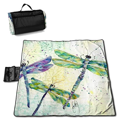 LHLX HOME Picnic Blanket Xena's Flying Dragonfly Handy Beach Mats with Waterproof Backing Anti Sand for Camping, Picnics, Beaches and Outings 57 X 59