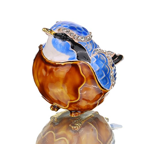 YUFENG Bird Trinket Box Easter Day Birthday Gifts Fine Pewter Boxes Jeweled Box with Crystal Jewelry Organizer