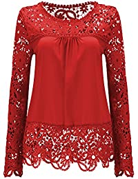 Amazon.com: Red - Blouses & Button-Down Shirts / Tops & Tees ...