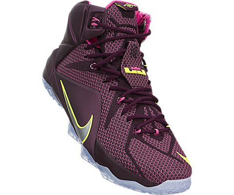 8f12774a6d3 Nike Men s Lebron XII Merlot Mtllc Silver Vlt Pnk Pw Basketball Shoe 11