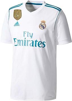 Camiseta del Real Madrid 2017/2018 con parche de la Champions, hombre, blanco, XS: Amazon.es: Deportes y aire libre