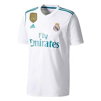 Camiseta del Real Madrid 2017/2018 con parche de la Champions, hombre, blanco, Small: Amazon.es: Deportes y aire libre