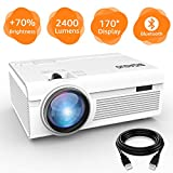 BIGASUO Projector, Portable Bluetooth Projector 2400 Lumens, Mini Projector Compatible with Fire TV Stick, PS4, Xbox, 170'' Display and 1080P Supported with Free HDMI Cable