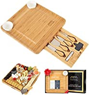 Cheese Board and Cutlery Set (Top Quality Elegant Packaging) Unique Bamboo Charcuterie Platter and Serving Tray for Wine, Cr