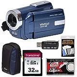 Vivitar DVR-508 HD Digital Video Camera Camcorder (Blue) with 32GB Card + Case + Kit