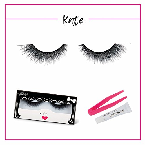 """3D False Lash Pack - """"Kate"""" by GladGirl - Set Includes Glue and Applicator - Dramatic, Cat Eye - Reusable Fake Lashes - Multi-layered Synthetic - Eye Cat Dramatic"""