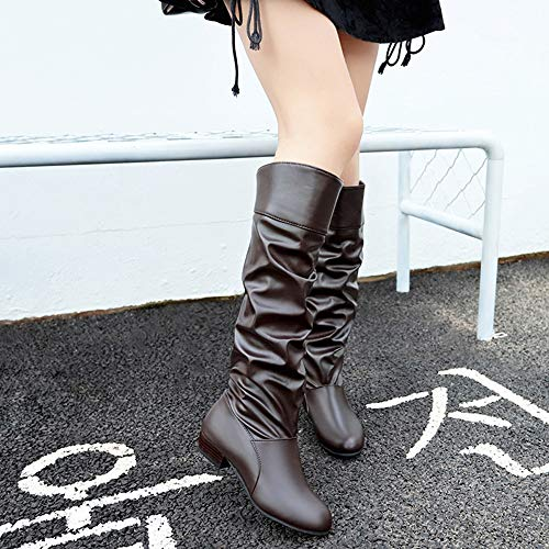 3 Knee Riding Size IZHH Casual Flat Boots Boots Autumn Size On 7 Boots Shoes Women Slip Coffee Hight Z6qwz56