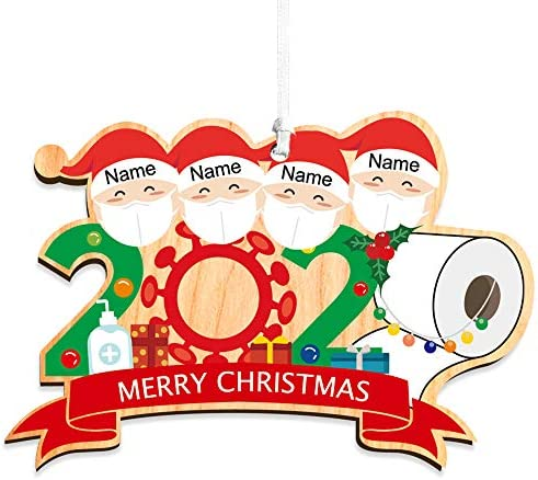 howson london Personalised Survived Family Decoration 2020 Family Christmas Ornament Quarantined at Home Lockdown Year Gift UV Printed Christmas Bauble Holiday Xmas Tree Bauble (Family of 4)