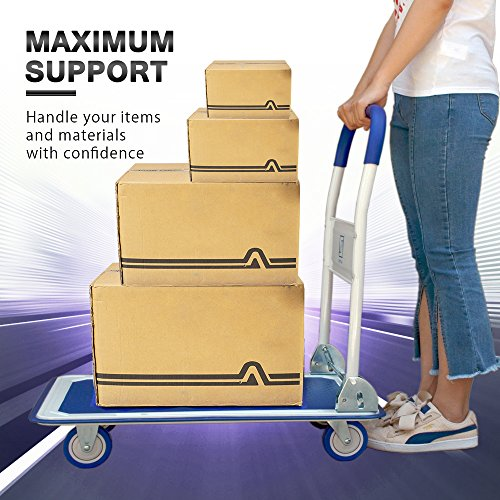 Push Cart Dolly by Wellmax | Functional Moving Platform + Hand Truck | Foldable for Easy Storage + 360-degree Swivel Wheels + 330lb Weight Capacity | Blue Colour by Wellmax (Image #2)