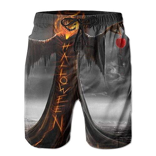 COVASA Mens Beach Shorts, Halloween Funny Ghost Miami Cute Shorts for Men Boys, Outdoor Short Pants Beach Accessories, White -