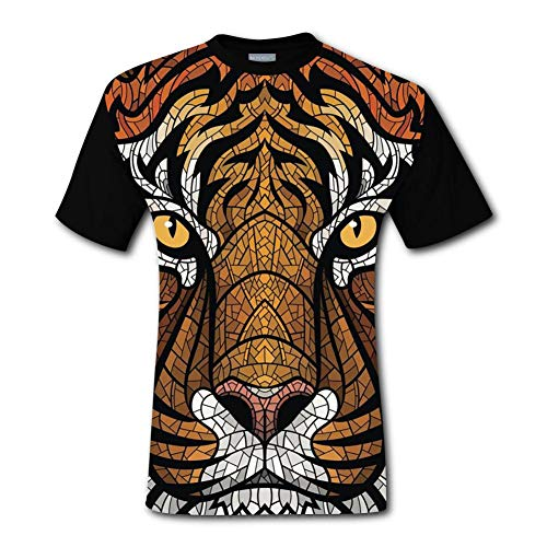 XSCITT Men's Tiger Head 3D Print Classic Short Sleeve T-Shirt