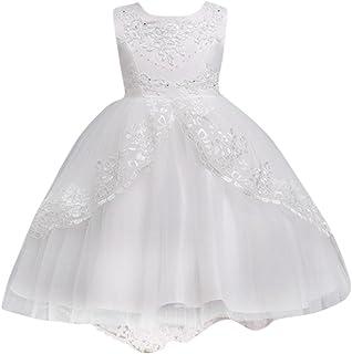 Elecenty Abito per bambina da sposa Vestito da cerimonia con pizzo Princess
