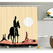 Ambesonne Western Decor Shower Curtain Set By, Illustration Art Of Cowboy Riding Horse Towards Sunset in Wild West Desert Hero, Bathroom Accessories, 75 Inches Long, Yellow Orange Black