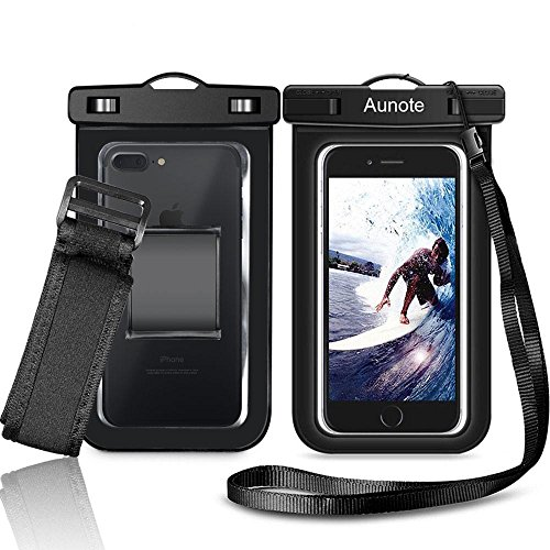 Waterproof Cell Phone Case Aunote Universal Dry Bag Pouch With Armband Lanyard, Best Water Proof For Apple iPhone 7 6 6s Plus 5s 5c,Samsung Galaxy S8 S7 S6 Or Any Phone