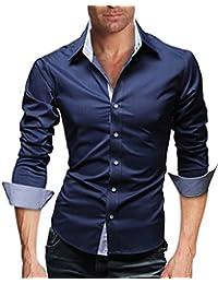 Men's Elegant Plain Casual Business Dress Shirt Long Sleeve Slim Fit