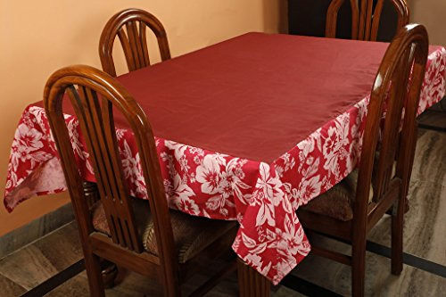 Dekor World Polyester Floral Printed Table Cover for 4 Seater Table   Maroon