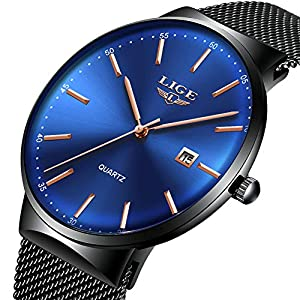 Mens Watches,LIGE Watches Men Fashion Sports Waterproof Stainless Steel Mesh Wristwatch Men Bussiness Dress with Date Full Blue Analog Quartz Watch Man … 25