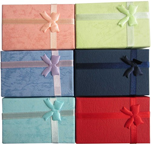 Earrings Present Gift Necklace - LeBeila 12pcs Paper Jewelry Gifts Boxes For Jewelry Display-Rings, Small Watches, Necklaces, Earrings, Bracelet Gift Packaging Box (Mix Color)