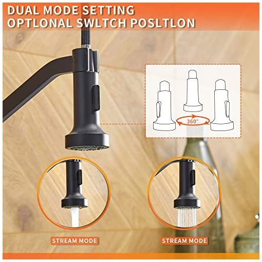 Farmhouse Kitchen OWOFAN Kitchen Faucets with Pull Down Sprayer Solid Brass Matte Black Industrial Single Handle One Hole Or 3 Hole Faucet… farmhouse sink faucets