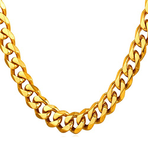 Men 9mm Wide Curb Link Cuban Chain Gold Plated 18K Stamp ()