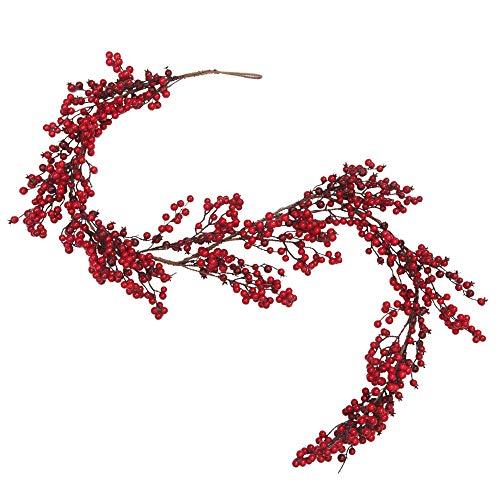 Skrantun 6 Feet Artificial Christmas Garland Red Berry Garland Christmas Decorations (Red Garland Christmas)