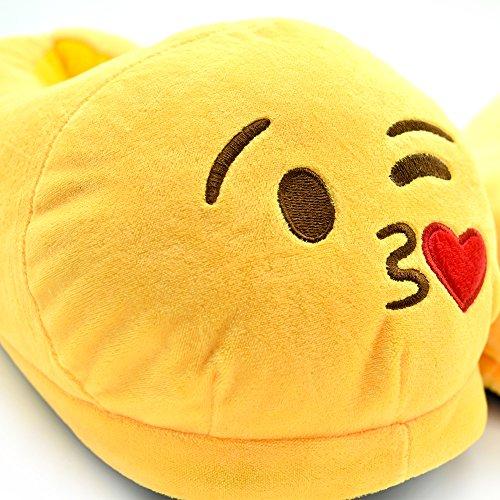 YINGGG Emoji Slippers Plush Fluffy House Shoes (Kiss) - Image 7