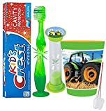"""""""Tractor Truck"""" Inspired 4pc Bright Smile Oral Hygiene Set! Flashing Lights Toothbrush, Toothpaste, Brushing Timer & Mouthwash Rise Cup! Plus Bonus """"Remember to Brush"""" Visual Aid!"""