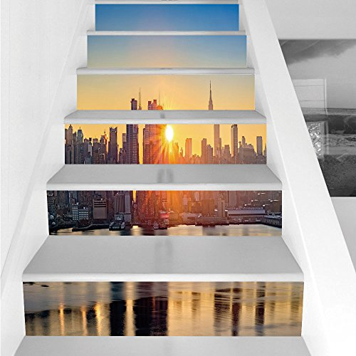 Stair Stickers Wall Stickers,6 PCS Self-Adhesive,City,Tranquil Sunrise at Midtown Manhattan United States NYC Waterfront America,Pale Blue Peach Tan,Stair Riser Decal for Living Room, Hall, Kids -