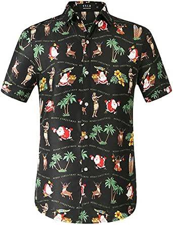 SSLR Men's Xmas Holiday Button Down Ugly Hawaiian Christmas Shirts (Small, Black(168-306))