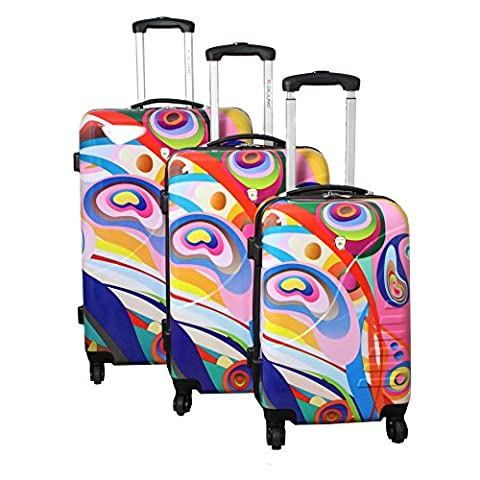 Dejuno 3-Piece Lightweight Hardside Spinner Luggage Set, Bravura - Expandable Dj System
