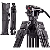 Regetek 72 Inch Video Camera Tripod System Professional Heavy Duty Aluminum Adjustable Photography Tripod Stand with Fluid Pan Head and Carry Bag for for Canon Nikon DV Camcorder DSLR Photo Studio