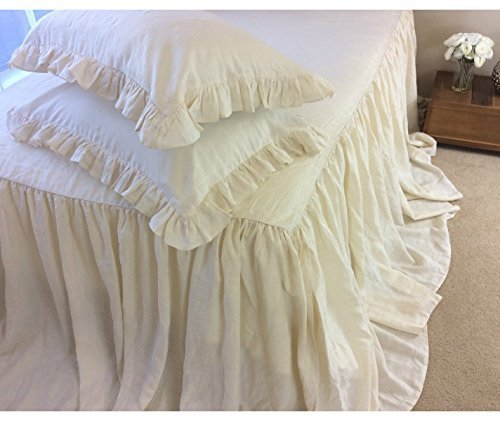 Ivory Cream Bedspreads handmade in natural linen, Ivory Cream Linen Bed Covers, Ivory Cream Bedding,Ivory Cream Bedspread, Linen Coverlet,Shabby Chic Bedding, Luxury Bedding Collections,Linen Bedding by SuperiorCustomLinens